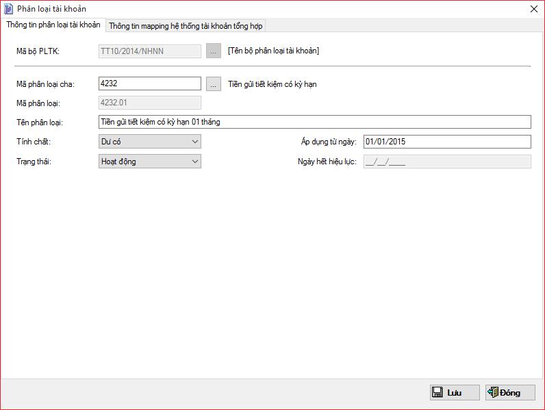 Màn hình giao diện đăng ký mã phân loại tài khoản trên Màn hình giao diện đăng ký lãi suất trên  Phần mềm Quỹ tín dụng nhân dân eFUND