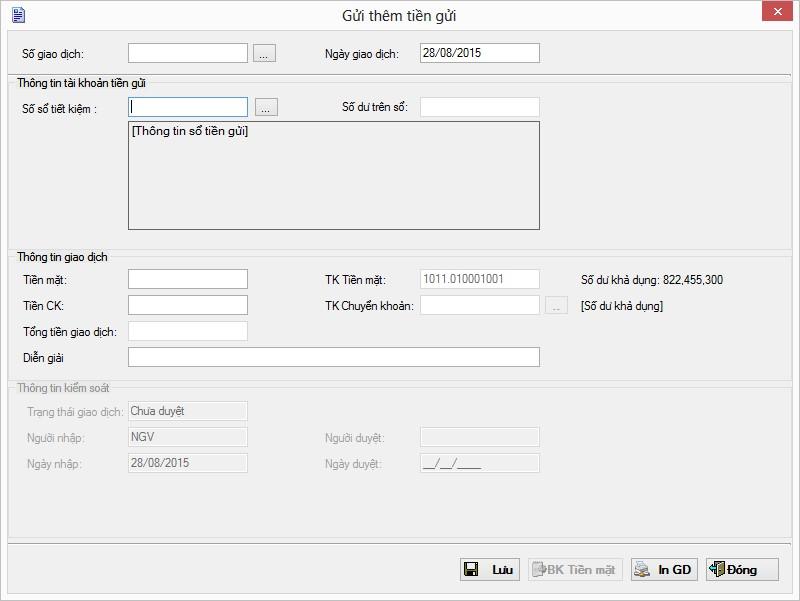 Màn hình giao diện gửi thêm tiền gửi trên Phần mềm quỹ tín dụng nhân dân eFUND