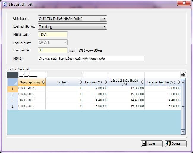 Màn hình thay đổi lãi suất sản phẩm trên Phần mềm Quỹ tín dụng nhân dân eFUND