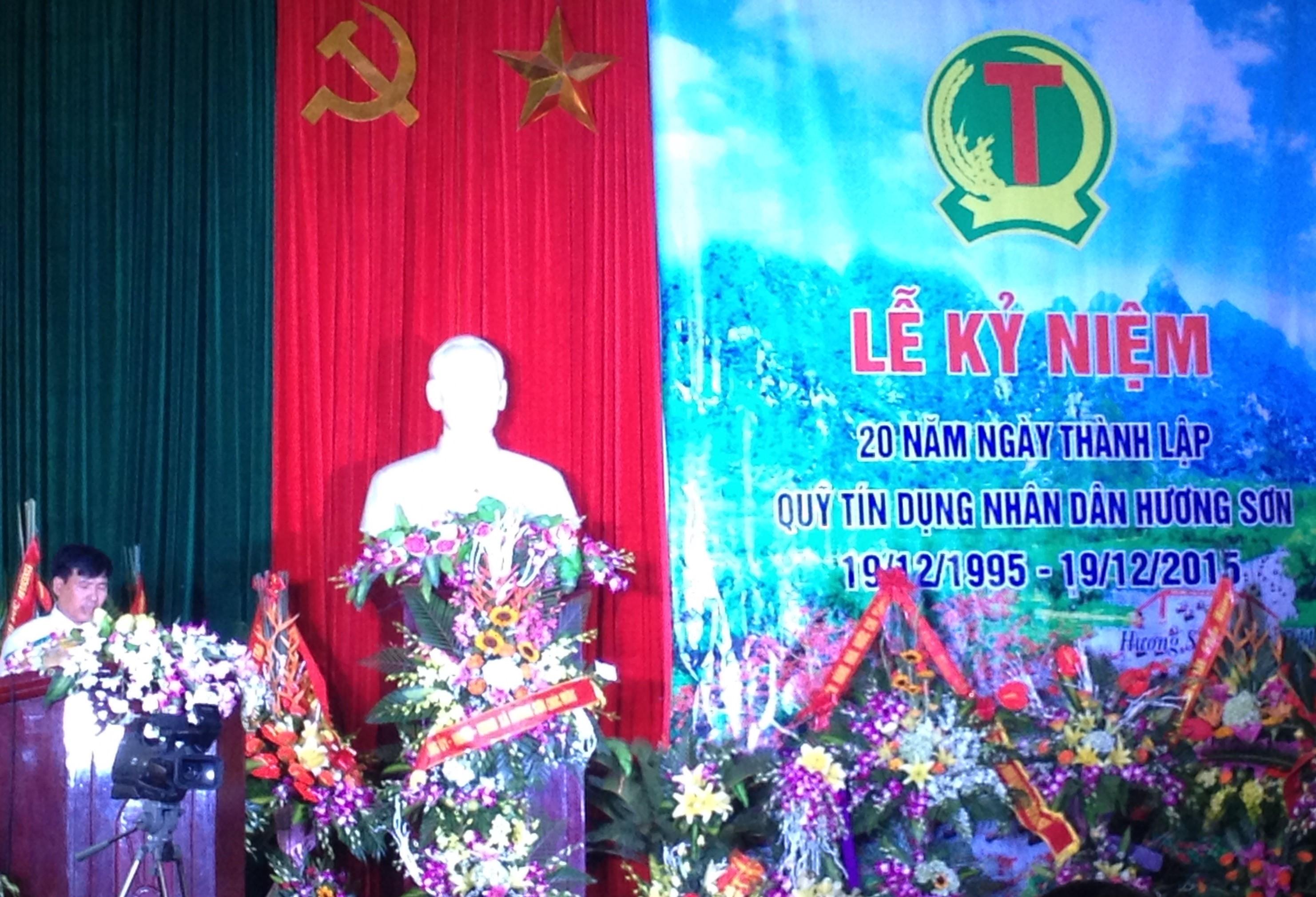 Đồng chí Phạm Văn Mạnh – ĐUV, Chủ tịch HĐQT quỹ TDND Hương Sơn đọc diễn văn khai mạc lễ kỷ niệm