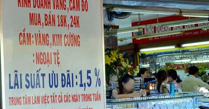 Nhiều tiệm vàng ở TP HCM có dịch vụ cầm vàng