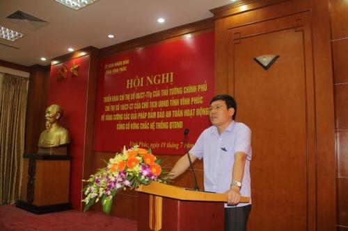 Ông Lê Duy Thành, Phó Chủ tịch thường trực UBND tỉnh Vĩnh Phúc phát biểu chỉ đạo tại hội nghị