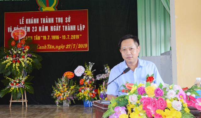 Đ/c Trần Tiến Thuật - Chủ tịch UBND xã Canh Tân phát biểu tại buổi lễ.